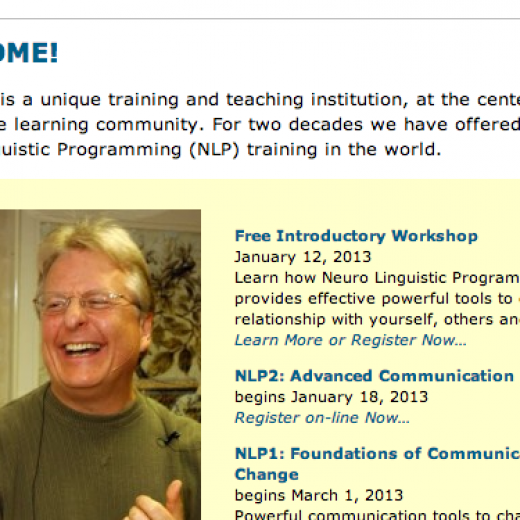 Logo of NLP Marin and smiling face of instructor, Carl Buchheit